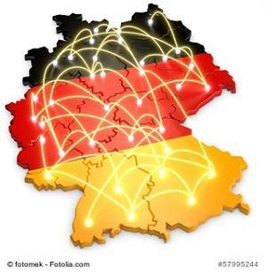 Landkarte Deutschland mit vielen Städten