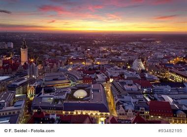Leipzig beim Sonnernuntergang