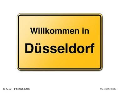 Willkommen in Düsseldorf Schild